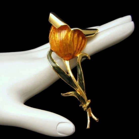 Vintage Flower Brooch Pin Mid Century Enamel Huge Bright Yellow Gold Orange Green