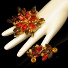 Vintage Brooch Pin Pendant Earrings Red Rhinestones Mid Century High End Prong Set