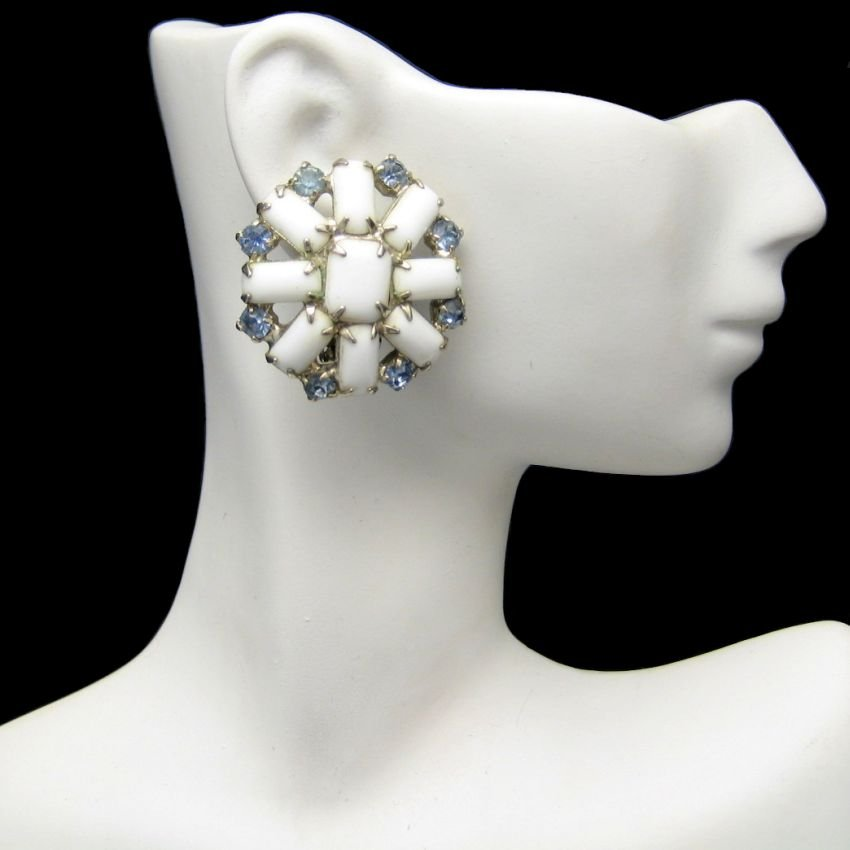 Vintage Large Milk Glass Clip Earrings Mid Century Blue Rhinestones Flowers Chunky Large