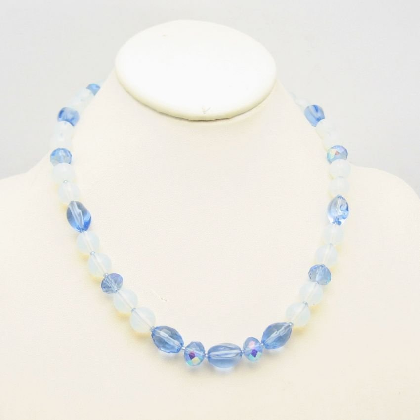 Vintage Necklace Mid Century Blue Glass Crystal Beads Translucent Unique Pretty Chunky