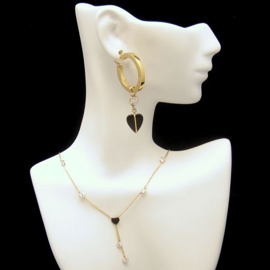 14K Gold Onyx Hearts Vintage Necklace Pierced Earrings Crystals CZs Glamorous Set