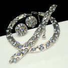 CROWN TRIFARI Blue Rhinestones Vintage Necklace Bracelet Earrings Mid Century Parure
