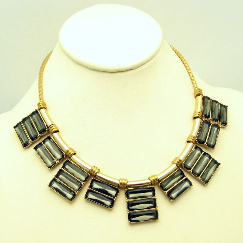 Art Deco Style Bezel Set Glass Slide Pendants Vintage Necklace Unique Striking