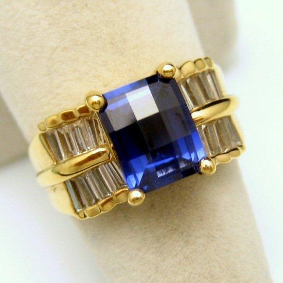 Vintage Ring 925 Sterling Silver Gold Vermeil Blue CZ Baguettes Size 7.25