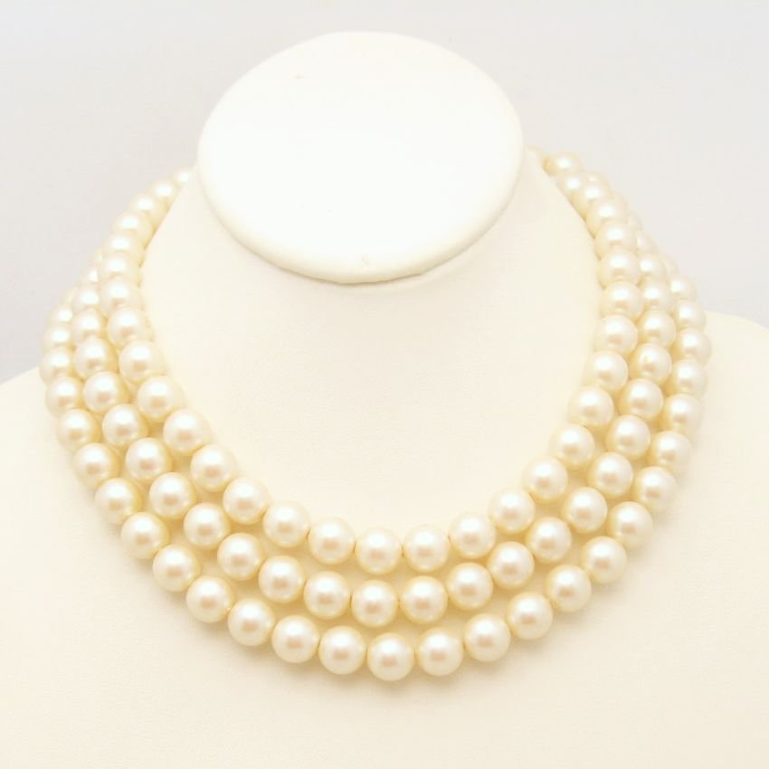 Vintage Large Faux Pearls Necklace Mid Century Flapper Length 53 in 10mm Versatile