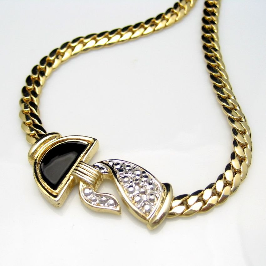 Vintage Necklace Mid Century Black Enamel Beaded Silvertone Pendant Thick Chain Very Classy