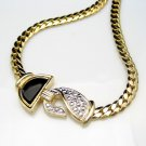 Mid Century Vintage Pendant Necklace Black Enamel Thick Chain Beaded Silvertone Very Classy