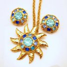 GRAZIANO Mid Century Starburst Vintage Pendant Necklace Brooch Pin Earrings Blue Glass High End