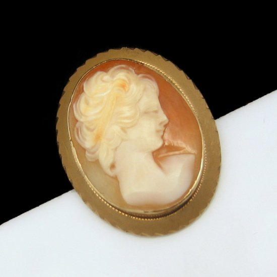 Vintage Shell Cameo Brooch Pin Pendant Mid Century Carved Gold Filled Fine Detail Beautiful