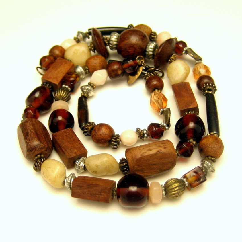 Vintage Necklace Large Wood Glass Metal Polished Gemstones Beads Long Length