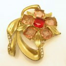 Vintage Flower Brooch Pin Mid Century Red Pink Glass Pot Metal Retro Large Gold Plated
