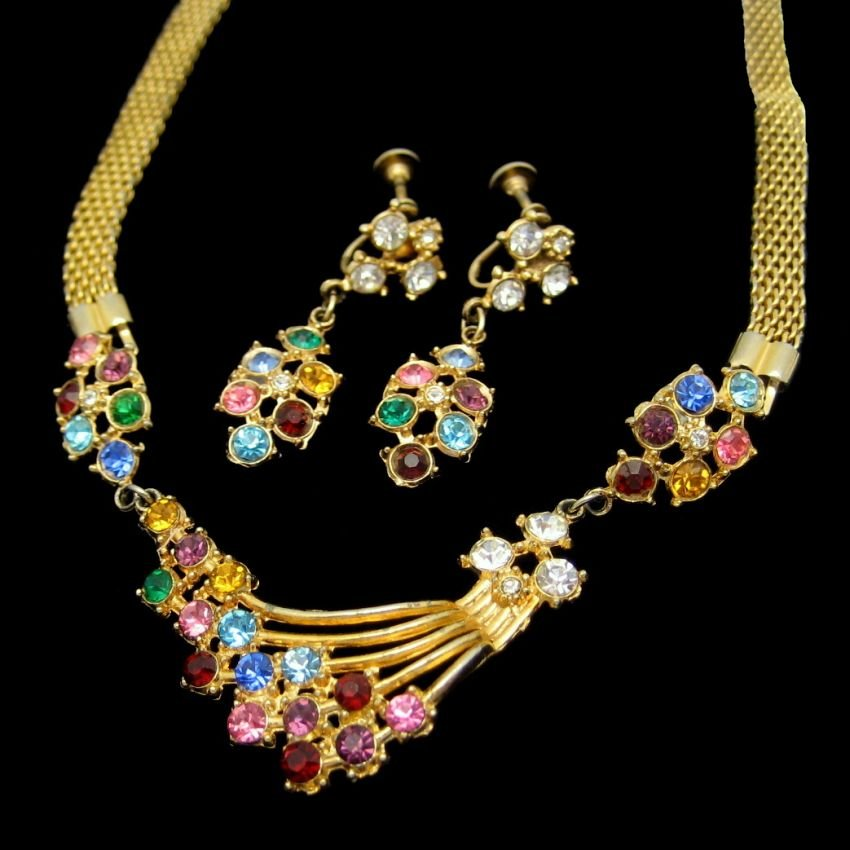 Vintage Rhinestone Necklace Earrings Set Mid Century Retro Mesh Red Blue Purple Pink Yellow
