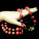Vintage Necklace Mid Century Cloisonne Crystal Glass Acrylic Beads Pink Black Long Chunky