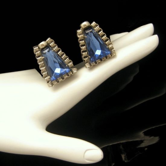 Vintage Large Blue Glass Earrings Book Chain Trim Silvertone Very Unique