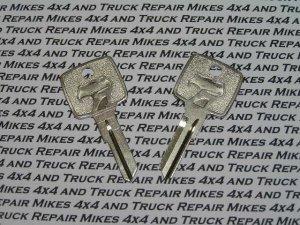 2 NOS Dodge Viper Secondary Key Blank Blanks keys 1994 to 2004