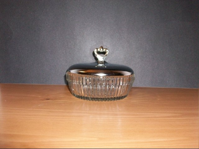 Lovely Glass Dish with Silver Plated Lid