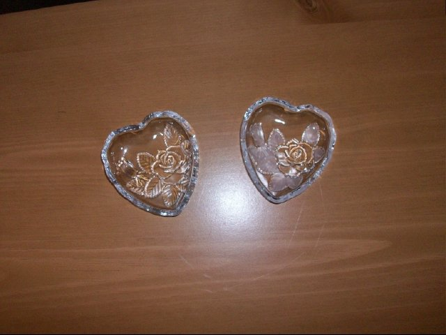 Set of Heart Shaped Glass Mini Dishes