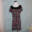 Style & Co. Black, White, Red Print Dress - Size L