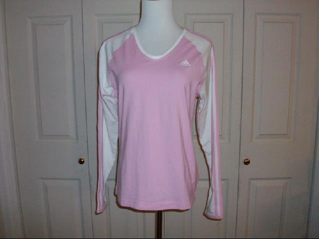 Women's Adidas Long Sleeve Tee in Pink & White - Size M