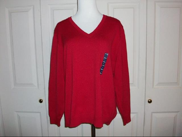 Lands' End V-Neck Red Sweater - Size 1x