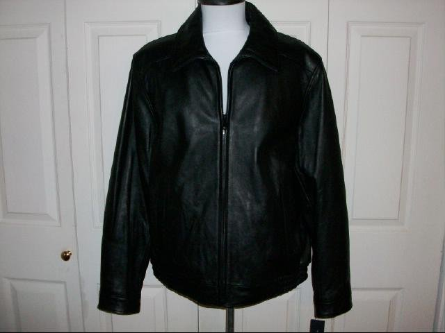 Men's Tommy Hilfiger Black Leather Jacket - Size L