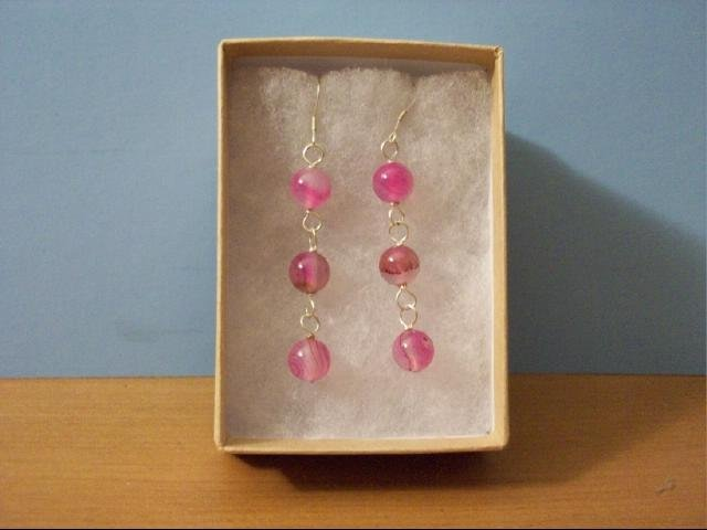 Lovely 8mm Pink Agate Dangle Pierced Earrings