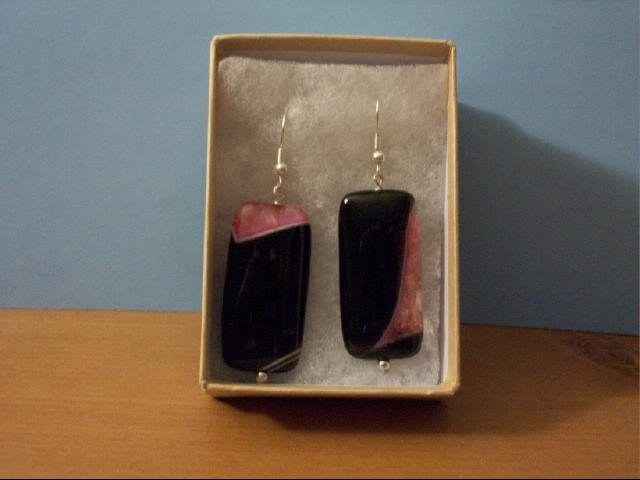 Purple/Pink Agate Pierced Earring - No 2 Pair Alike
