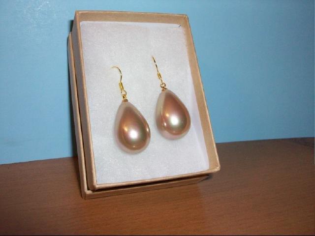 Big Teardrop South Seashell Pearl Bead Pierced Earring -Coffee