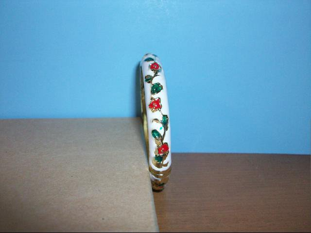 Lovely Cloisonne White Bangle with Red, Green and Gold