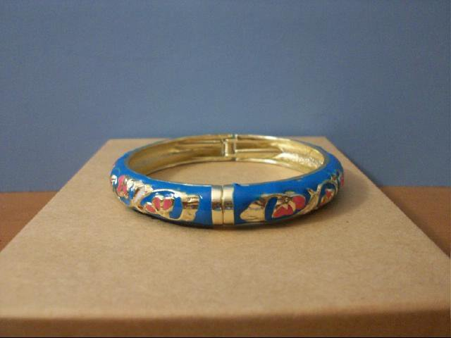 Lovely Cloisonne Blue Bangle with Pink,White and Gold Accent
