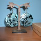 Natural Shell Dangle Earring - Blue and Black Design