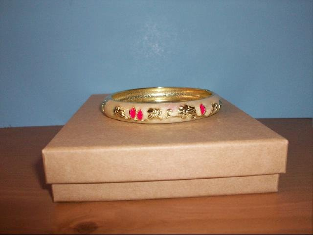 Lovely Cloisonne Cream with Red Bangle Bracelet