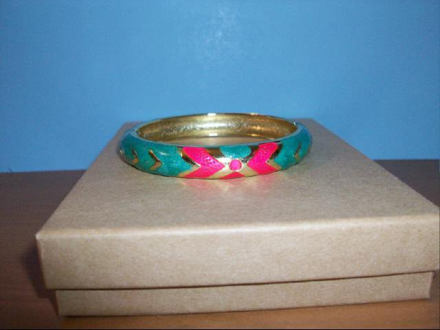 Lovely Cloisonne Light Green, Red and Gold Bangle Bracelet