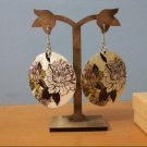 Natural Shell Dangle Earring - Colorful Floral Design