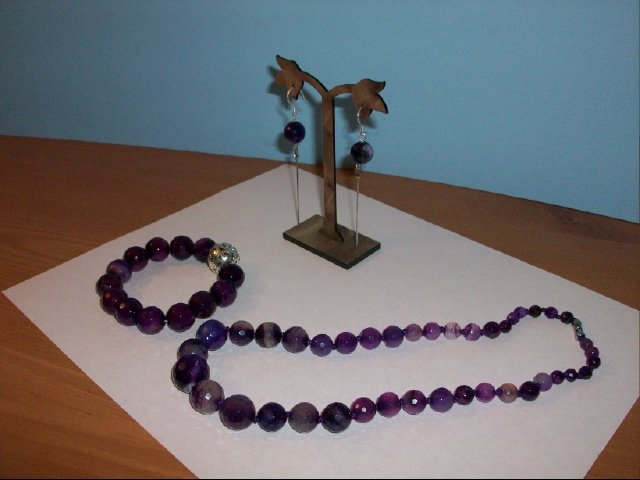 Lovely Purple Agate Faceted Necklace, Bracelet, Earring Set