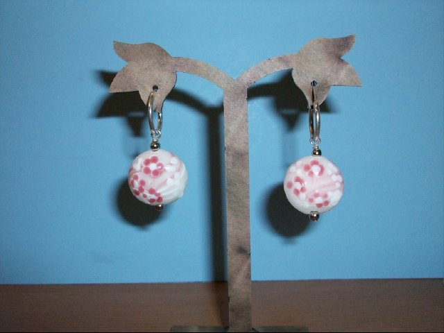 Lovely Flat Round Plum Flowered Colored Glazed Pierced Earring