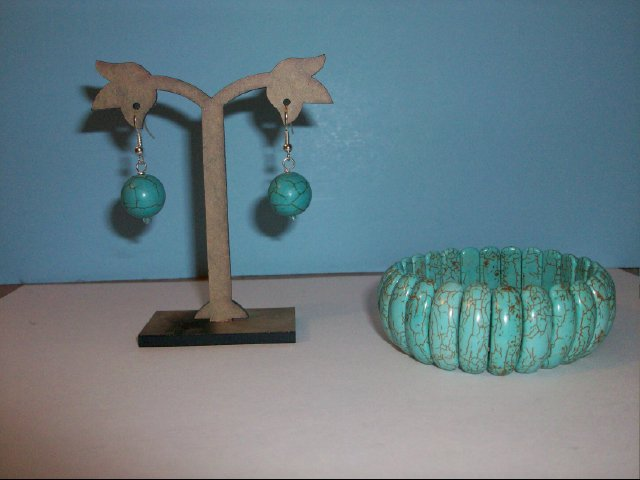 Turquoise Stretchy Bracelet and Pierced Earring Set #2