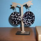 Natural Shell Dangle Earring - Black and White Leopard Print