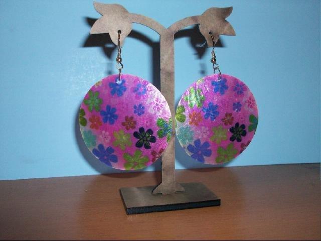 Natural Shell Dangle Earring - Purple/Pink Multi Flower