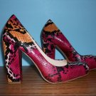 Nine West Multi Color Faux Snakeskin Pumps - Size 7M