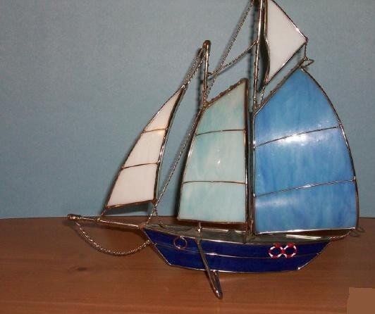Handmade Metal Model Sail Boat with Blue and White Sails