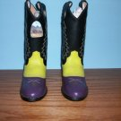 Cimarron Cowgirl Boots in Black, Purple, Green - Size 2 1/2