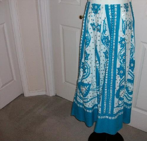 Solitaire Ankle Length Blue and White Skirt - Size Medium