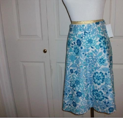 Gap Blue and White Floral Pattern Skirt - Size 6