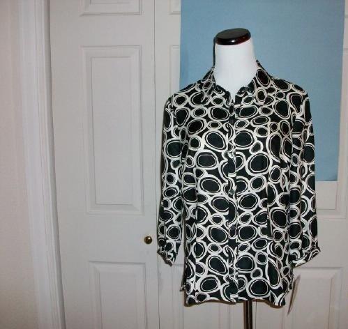 Kathy Che Black & White Print Top - Size M