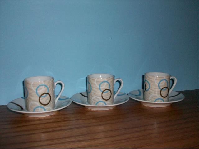 Espresso 3 Cup and Saucer Set