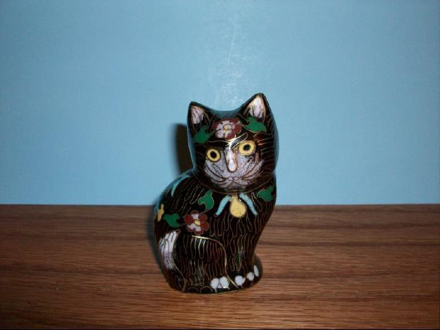 Vintage Chinese Cloisonne Enamel Cat Figurine