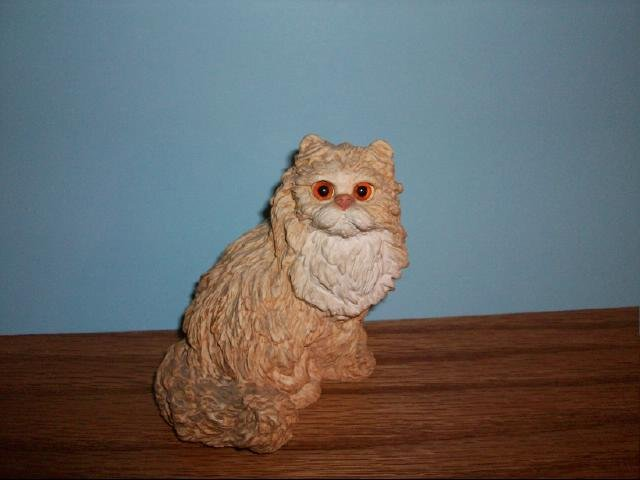 Orange Longhair Cat Figurine