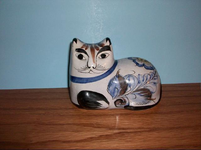 Vintage Mexican Tonala Folk Art Cat Figurine