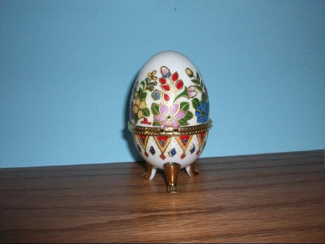 Collectible Ceramic Egg Shaped Trinket Box - Floral Design with Gold Trim